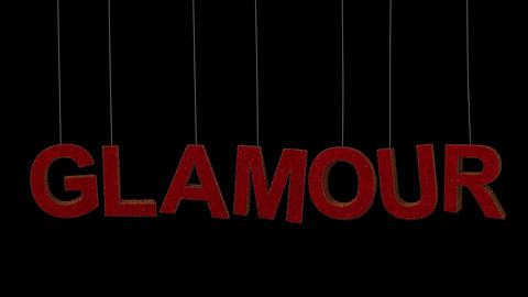 Dynamic Glitter ornament text in 2 colors with separate alpha forming the word Glamour 2 Animation