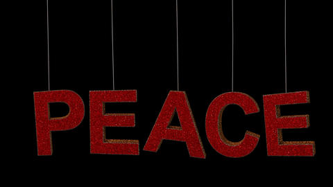 Dynamic Glitter ornament text in 2 colors with separate alpha forming the word Peace 2 Animation