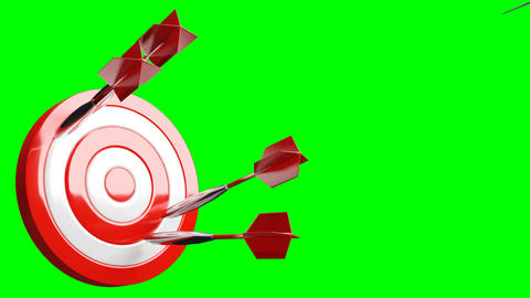 Some red dart arrows hit target on green chroma key Animation