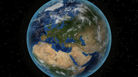 United-Kingdom. 3D Earth in space - zoom in on United-Kingdom outlined. Star sky background Animation