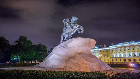 timelapse monument to Peter I. Architecture of St. Petersburg, historical city Live Action