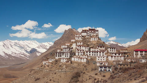 Key Gompa Time Lapse Clouds Zoom Back Animation
