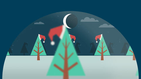 Christmas trees with hats Animation