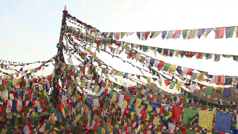 Buddhist Prayer Flags Footage
