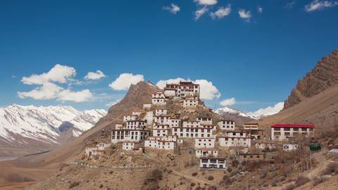 Key Gompa Time Lapse Clouds Zoom Animation