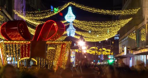 Street Nights Christmas 4K Timelapse.