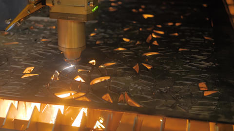 Laser cutting machine working with sheet metal with sparks: metalworking concept Live Action