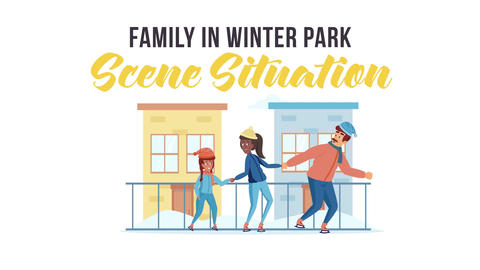 Family in winter park - Scene Situation After Effects Template