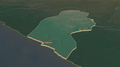 River Cess extruded. Liberia. Stereographic relief map Animation