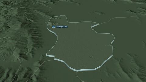 Krivogaštani extruded. Macedonia. Stereographic administrative map Animation