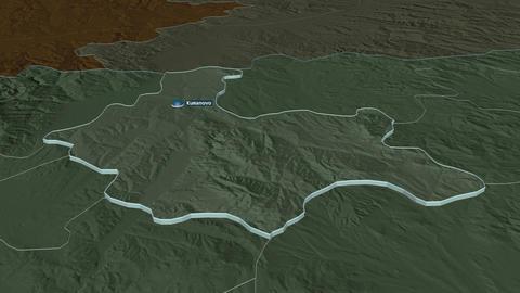 Kumanovo extruded. Macedonia. Stereographic administrative map Animation