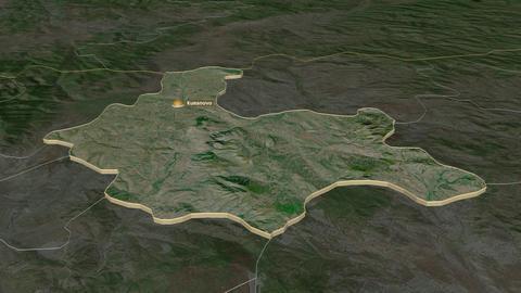 Kumanovo extruded. Macedonia. Stereographic satellite map Animation
