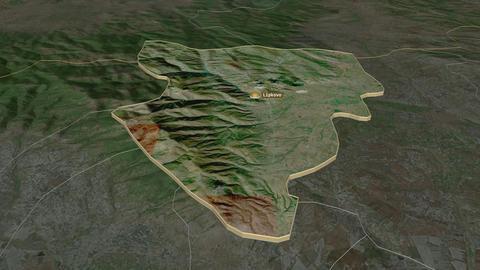 Lipkovo extruded. Macedonia. Stereographic satellite map Animation