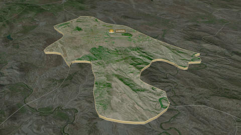 Lozovo extruded. Macedonia. Stereographic satellite map Animation