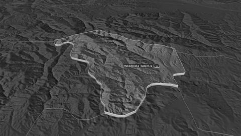 Makedonska Kamenica extruded. Macedonia. Stereographic bilevel map Animation