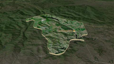 Makedonska Kamenica extruded. Macedonia. Stereographic satellite map Animation