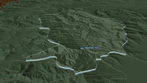Makedonski Brod extruded. Macedonia. Stereographic administrative map Animation