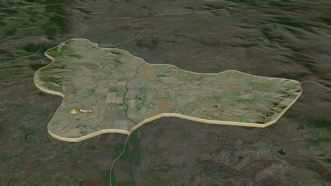 Mogila extruded. Macedonia. Stereographic satellite map Animation