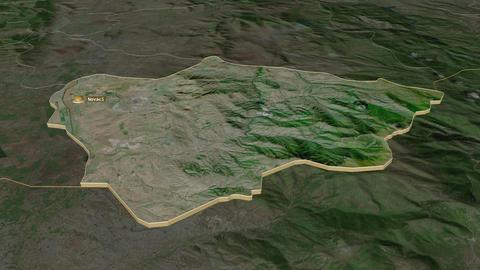 Novatsi extruded. Macedonia. Stereographic satellite map Animation