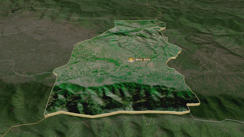 Novo Selo extruded. Macedonia. Stereographic satellite map Animation