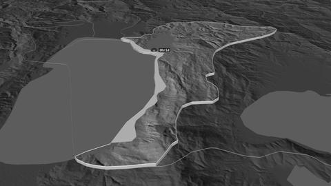 Ohrid extruded. Macedonia. Stereographic bilevel map Animation