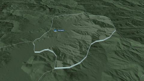 Oslomej extruded. Macedonia. Stereographic administrative map Animation