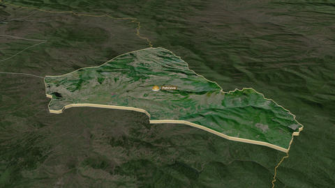 Pehecevo extruded. Macedonia. Stereographic satellite map Animation