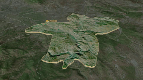 Petrovec extruded. Macedonia. Stereographic satellite map Animation