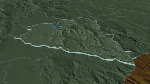 Prilep extruded. Macedonia. Stereographic administrative map Animation
