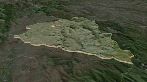 Prilep extruded. Macedonia. Stereographic satellite map Animation