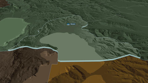 Resen extruded. Macedonia. Stereographic administrative map Animation