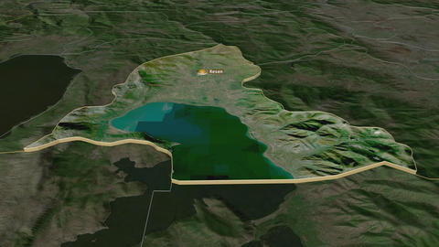 Resen extruded. Macedonia. Stereographic satellite map Animation