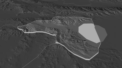 Star Dojran extruded. Macedonia. Stereographic bilevel map Animation