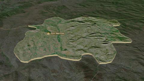 Staro Nagoricane extruded. Macedonia. Stereographic satellite map Animation