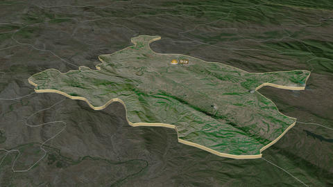 Istip extruded. Macedonia. Stereographic satellite map Animation