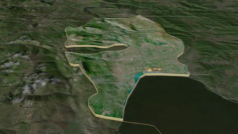 Struga extruded. Macedonia. Stereographic satellite map Animation