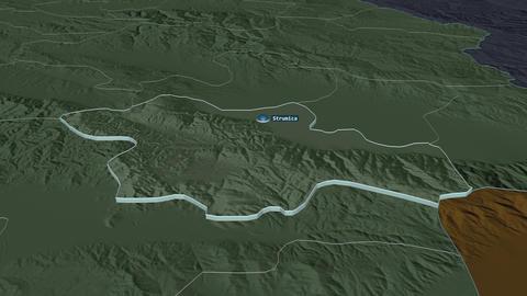 Strumitsa extruded. Macedonia. Stereographic administrative map Animation