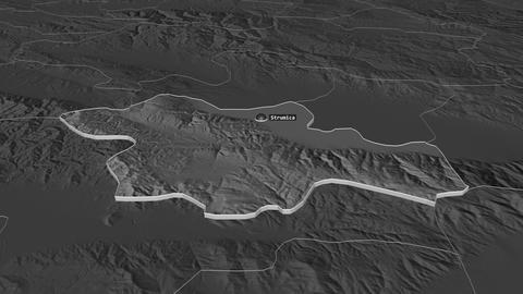 Strumitsa extruded. Macedonia. Stereographic bilevel map Animation