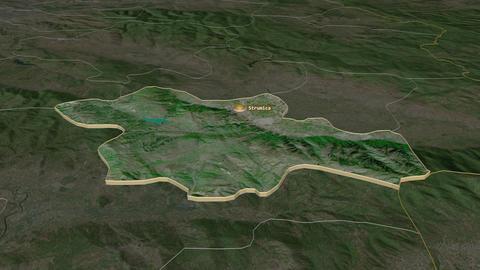 Strumitsa extruded. Macedonia. Stereographic satellite map Animation