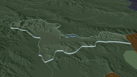 Valandovo extruded. Macedonia. Stereographic administrative map Animation