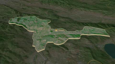 Valandovo extruded. Macedonia. Stereographic satellite map Animation
