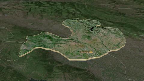 Vasilevo extruded. Macedonia. Stereographic satellite map Animation