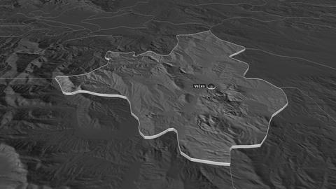 Veles extruded. Macedonia. Stereographic bilevel map Animation