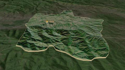 Vinitsa extruded. Macedonia. Stereographic satellite map Animation
