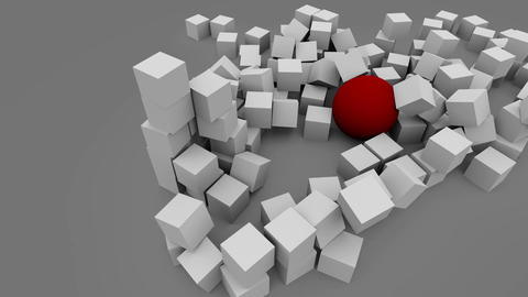 Wrecking red ball breaking the wall of gray cubes GIF