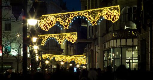 Street Nights Christmas 4K Timelapse. 1