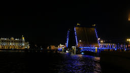 Dvortsoviy Most wings in vertical position during night Neva river navigation Footage