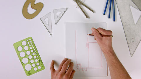 Zoom in of Hand Drawing Architectural Indoor Plans Live Action