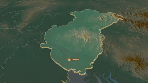 Cross River extruded. Nigeria. Stereographic relief map Animation