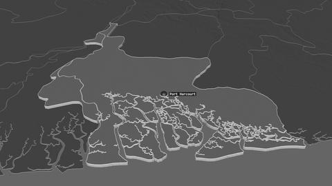Rivers extruded. Nigeria. Stereographic bilevel map Animation